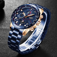 LIGE New Business Men Watch Luxury Brand Stainless Steel Wrist Watch Chronograph Army Military Quartz Watches Relogio Masculino sinobi full stainless steel business men watches chronograph quartz watch color rotatable bezel white number relogio masculino