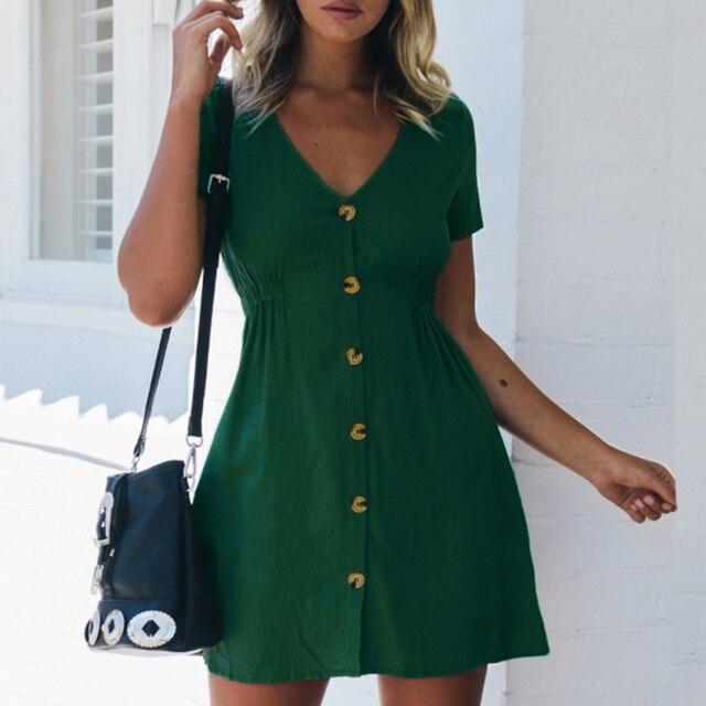 Women's Dress 2021 Spring/Summer Pure Color Single Row Buttons V-Neck Dress Women Slim High Waist Casual Dress Vestido 4