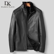DK Роскошная Одежда из натурального меха норки, овечья кожа высшего качества, черная зимняя одежда из натуральной овчины