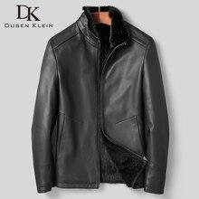 Dk 高級リアルミンクの毛皮服シェルシープスキ最高品質の黒革シープスキン冬服