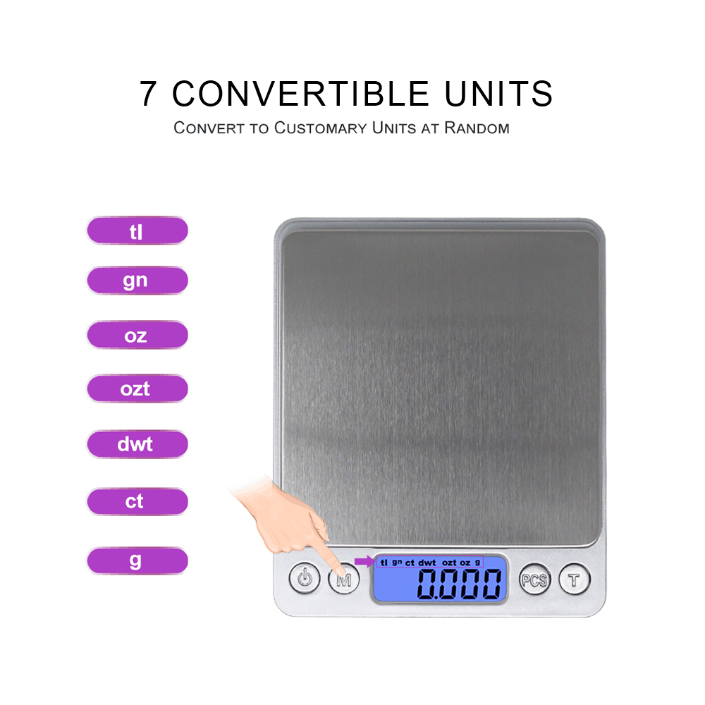 Báscula de cocina digital Básculas de joyería 3 kg 0.1g 500g 0.01g - Instrumentos de medición - foto 3