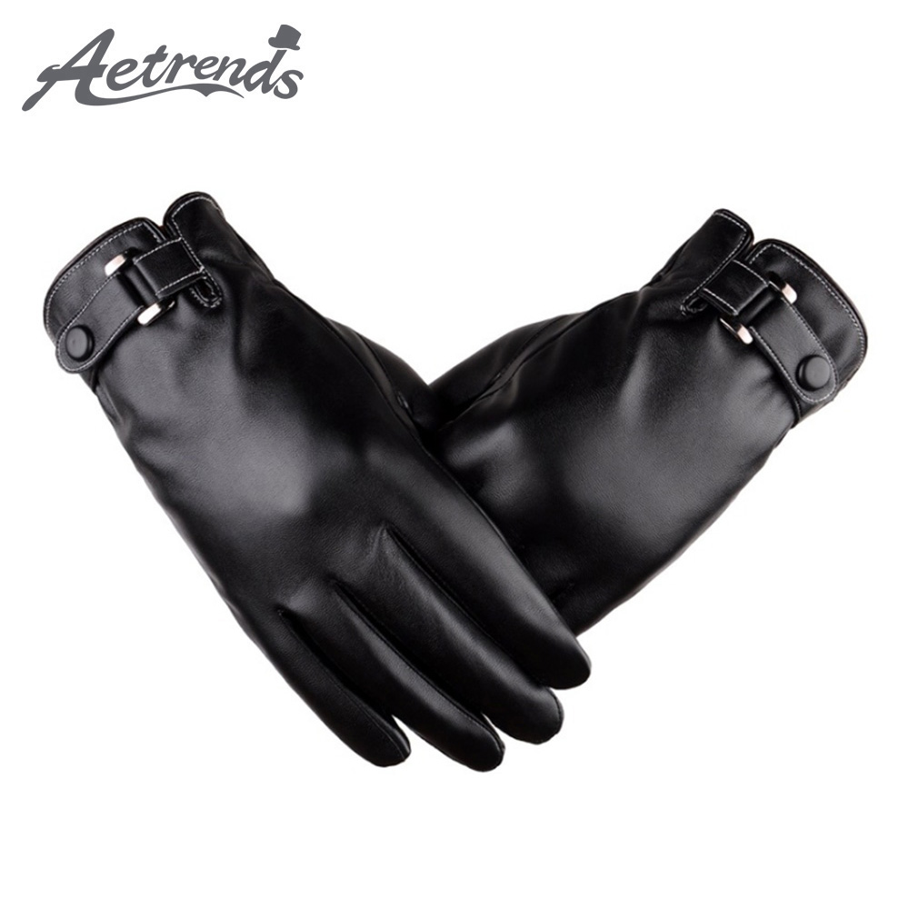 [AETRENDS] Men's Winter Black Gloves PU Leather Touchscreen Cycling Glove Outdoor Riding Warm Waterproof Gloves O-0003