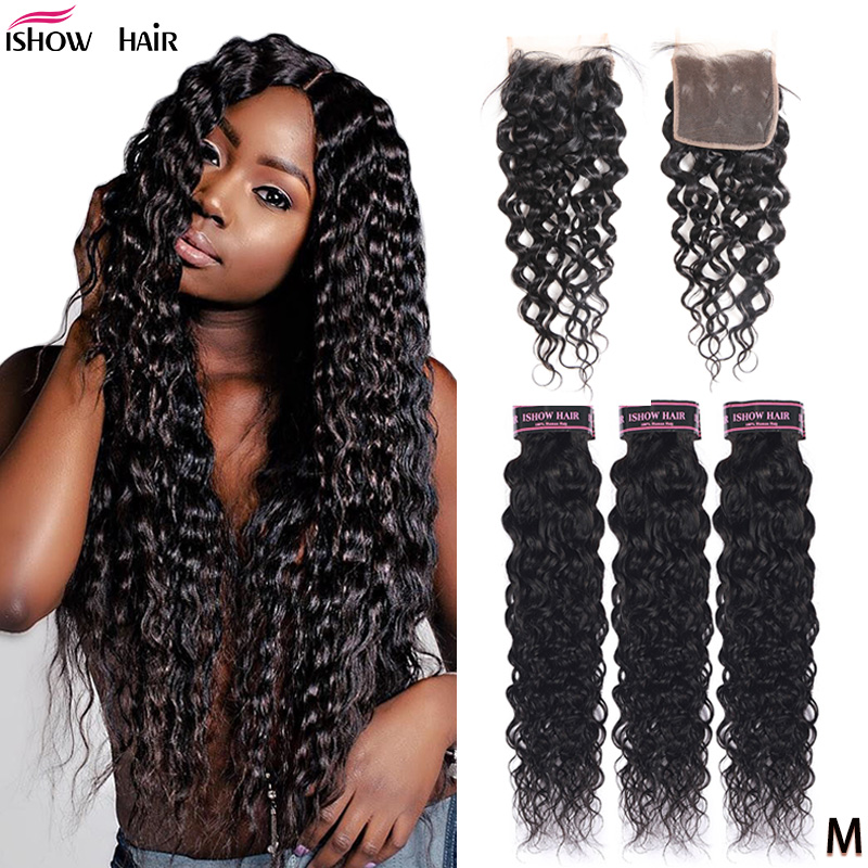 Ishow Water Wave Bundles With Closure 100% Human Hair Bundles with Closure Brazilian Hair Weave Bundles With Closure Non-Remy