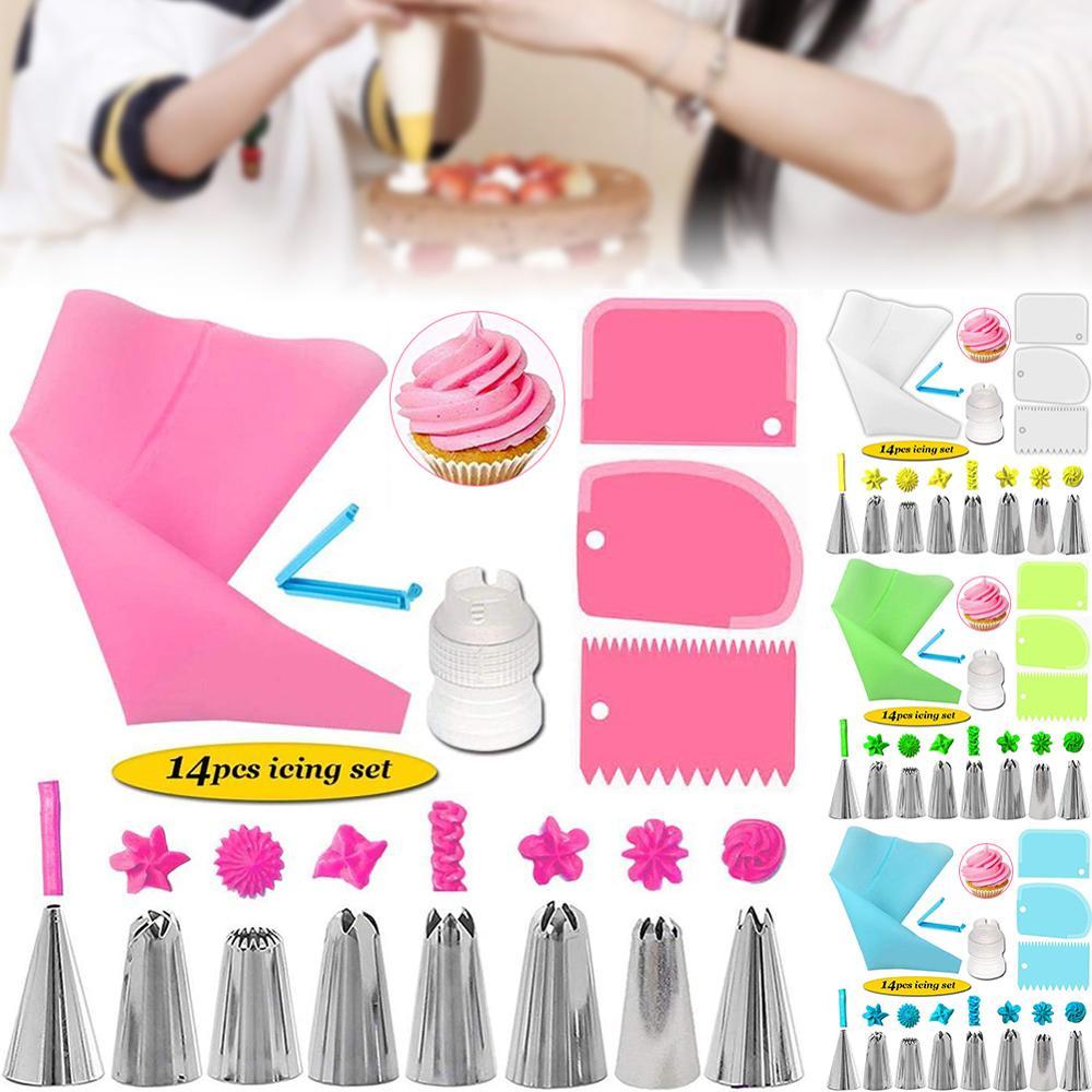Cake Decorating Tool Kits Piping Tip And Bag Baking Icing Set, With 3 Spatulas Baking Decoration Tool