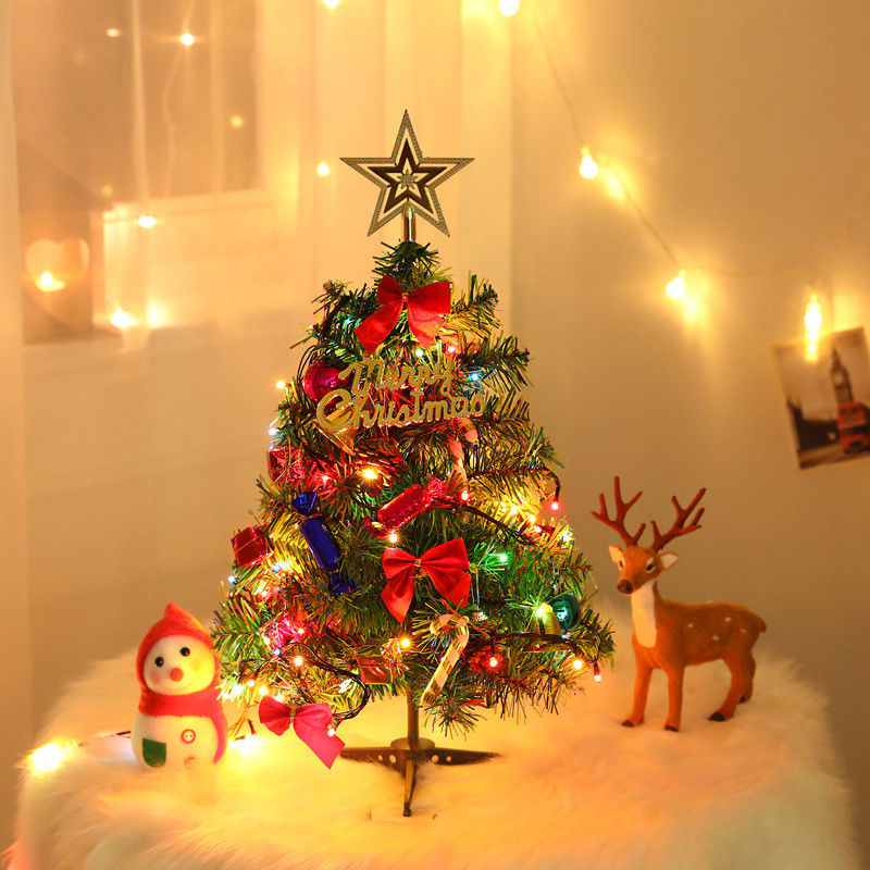 LED Xmas Tree 50cm Home Decoration Office New Year Festival Beautiful Tabletop Ornament Village Putz House Santa Snow Frost
