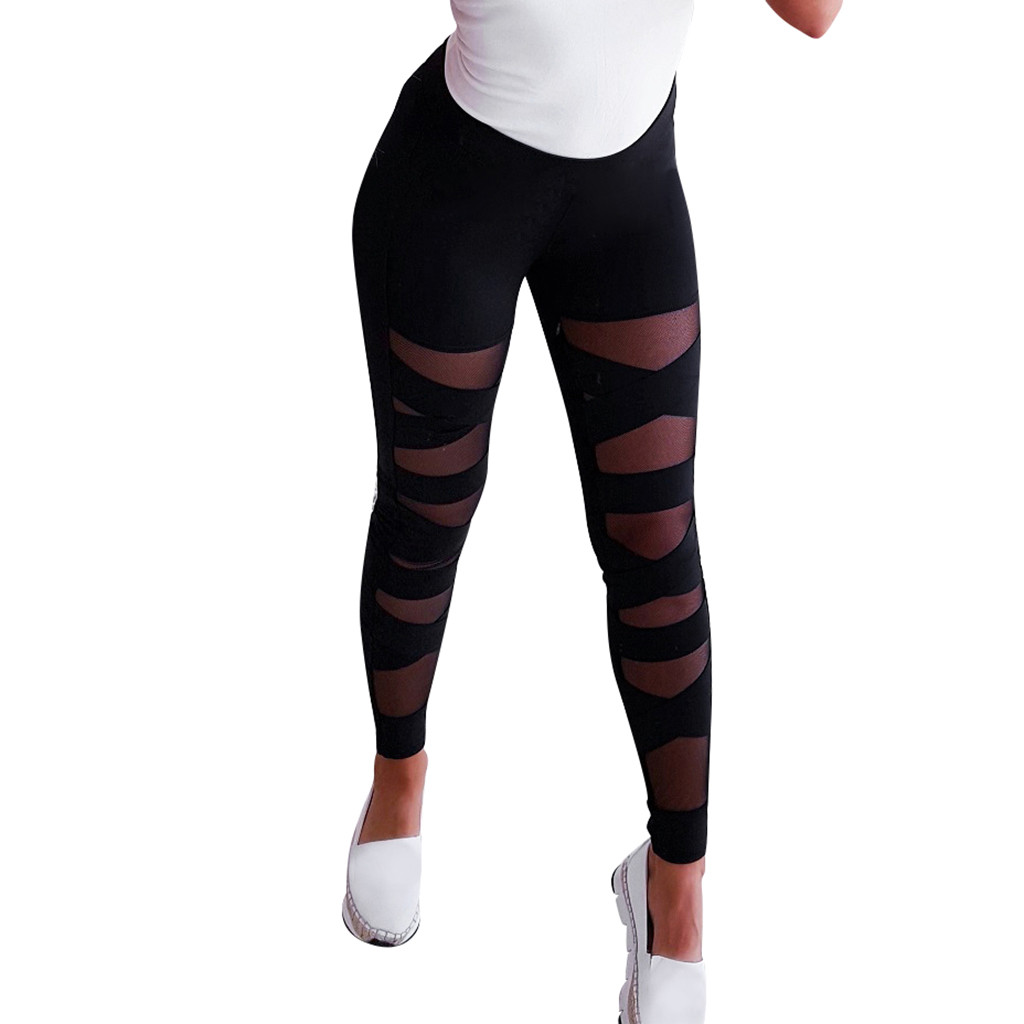 20# Leggings Sport Women Fitness Workout Elastic Perspective Splice Leggings Sport Casual Solid Athletic Pants Training Jegging