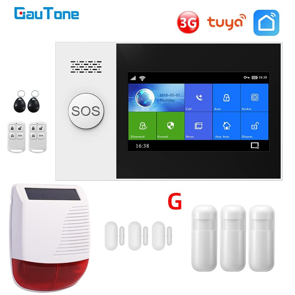 Gautone pg107 wifi 3g sistema de alarme para a segurança em casa com pir sirene solar sem fio suporte tuya controle remoto