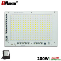 200W AC220V SMD 2835 LED PCB 262x173mm LED Floodlight Smart IC Driver Module Aluminum plate White/Warm For Spotlight Lamps DIY