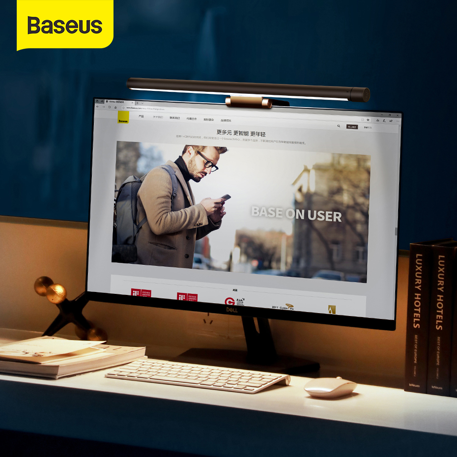 Baseus USB LED Desk Lamp Reading Screen Flexible USB Light Eye Protection Computer Screen Light 2900K-5000K USB Light For Office