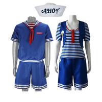 Stranger Things Robin Steve Cosplay Costume ice cream Print Sailor Suit