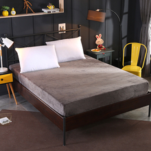 Solid Color Fitted Sheet Winter flannel Mattress Cover Keep warm Bedding Bed Sheets With Elastic Band Double Queen Size sheet