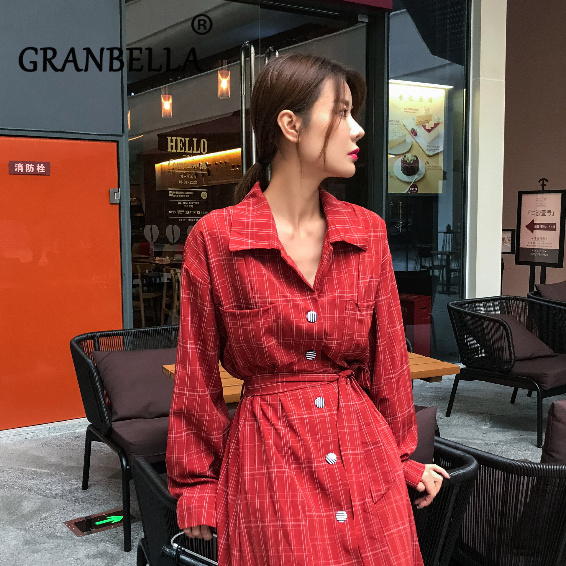Korean Style Vintage Loose Knee-length Plaid   Trench   Coat Fashion Chic Women   Trench   Coat Loose A-Line Female Coat High Waist