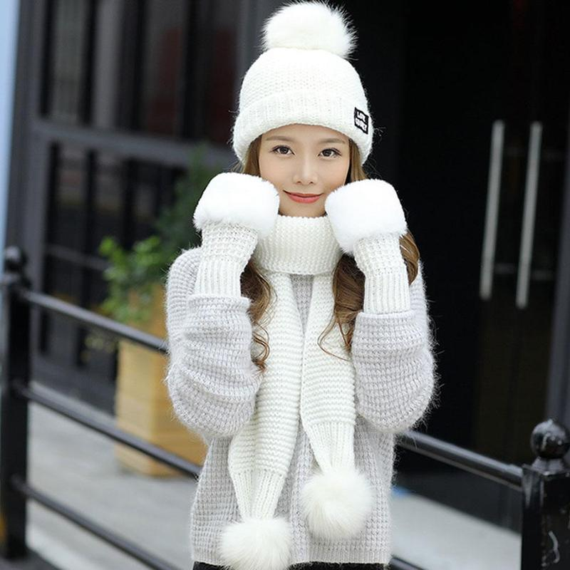 Winter Cute Women's Knit Hat Gloves Scarf Set Sweet Wild Winter Three-piece Suit Warm Windproof Knit Hat Gloves Set