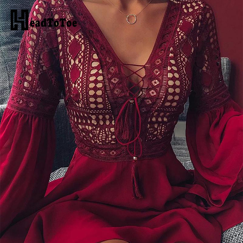 Lace-Up Front Lace Trim Mini Dress Women V-neck Long Sleeve Casual Short Dresses Workwear