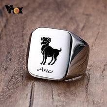 Vnox – bague Signet 18mm pour hommes et femmes, signe du zodiaque 12 Horoscope Constellation, bague Punk bélier en acier inoxydable