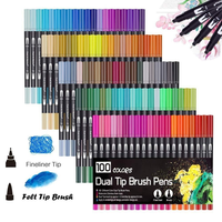 100 piezas de colores de doble punta pincel bolígrafos marcador de Arte Fino delineador pincel pintura acuarela bolígrafos para colorear Manga caligrafía