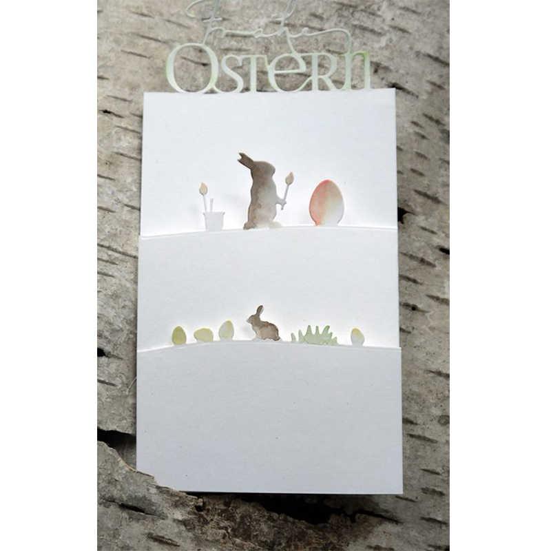 Troqueles de corte de metal, marco de conejo de pascua, molde troquelado, papel para hacer tarjetas, molde de cuchillo artesanal, nuevo 2020