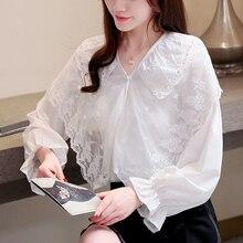 Women Tops Lace Blouses shirt Korean Spring 2019 Autumn New Long Sleeve Fashion Chiffon Womens Shirt 756H7