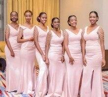 Blush Pink Sheath Bridesmaid Dresses  Long Beading V Neck Front Split Dress Wedding Guest Wear Satin Cheap Gowns