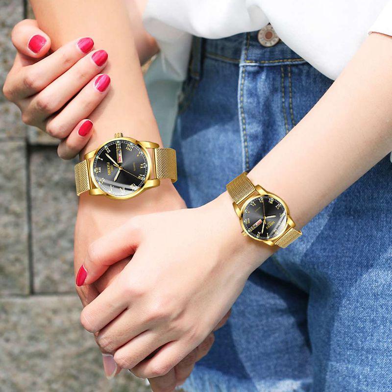 NIBOSI Couple Casual Mesh Belt Fashion Quartz Gold Watch Mens Watches Top Brand Luxury Women Watch Couple Relogio Masculino 2020