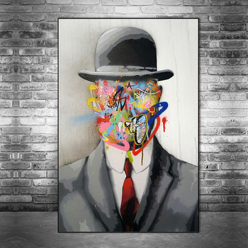 Abstract Street Art Graffiti Magritte Painting Printed on Canvas 4