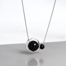 ZOBEI Real 925 Sterling Silver Round Black Agate  Choker Necklace For Fashion Women Party Cute Fine Jewelry  Accessories Gift