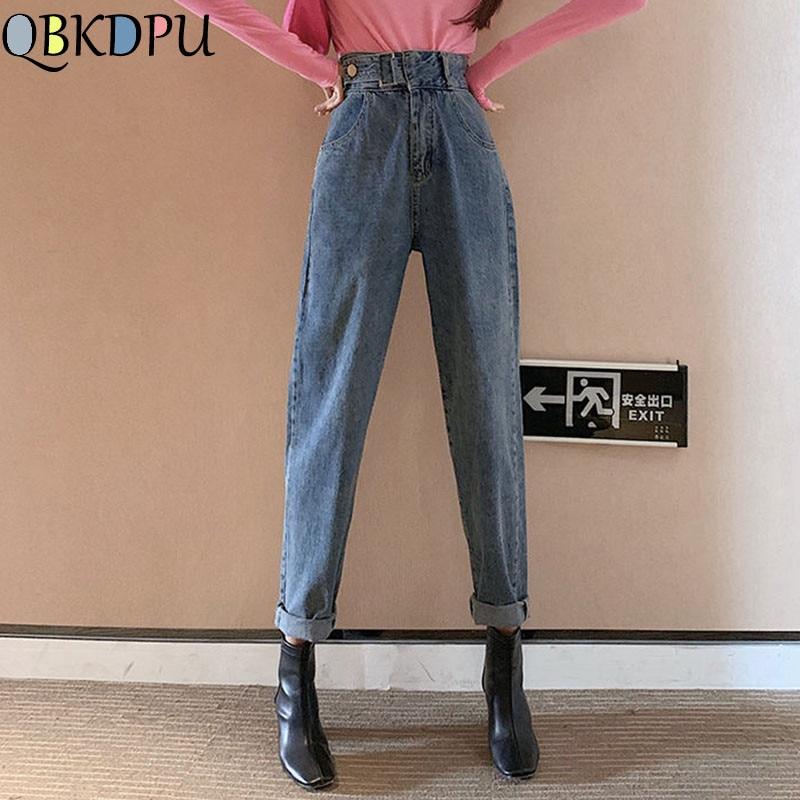 Mom Casual High Waist Jeans Boyfriend Jeans For Women Female Black Wide Leg Denim Pants Korean Vintage Loose Trousers Streetwear
