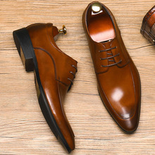 цены New Men Business Formal Dress Shoes Oxfords Genuine Leather Lace-Up British Style Pointed Toe Italian Wedding Shoes
