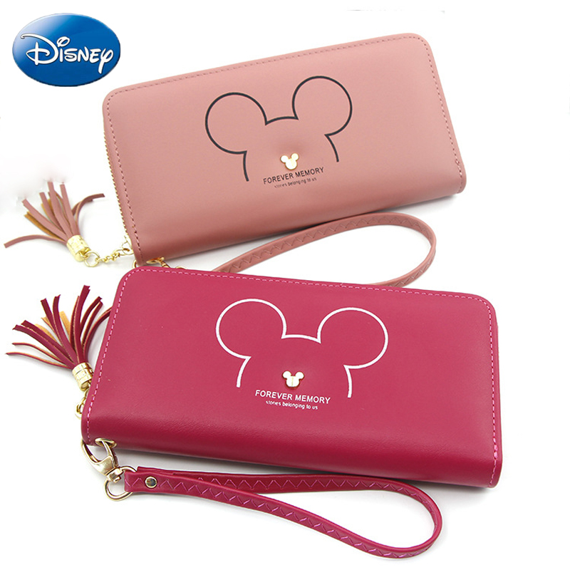 Disney Zipper Wallet Girls Coin Purse 2019 New Mickey Mouse Lady Clutch Long Handbag Card Holder Cute Female Bag Catoon Big