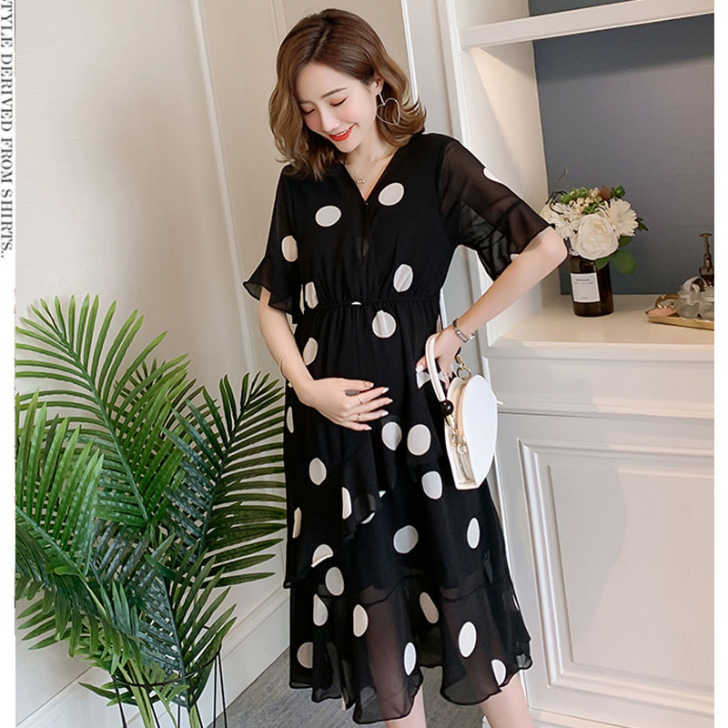 Nursing Maternity Dresses For Pregnant Women Clothing Polka Dot Chiffon Feeding Pregnancy Dress Vestidos Breastfeeding Clothes