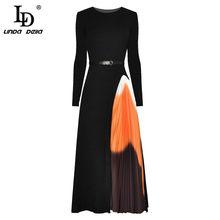 LD LINDA DELLA Spring/Autum Fashion Runway abito lavorato a maglia elastico donna manica lunga Patchwork pieghettato elegante abito Vintage Midi