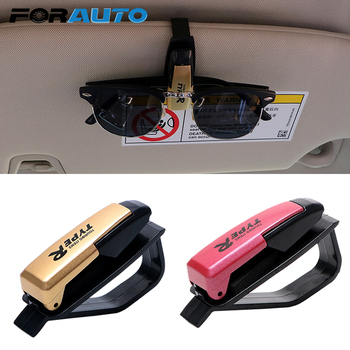 FORAUTO Car Sun Visor Glasses Clip Case Sunglasses Holder Eyewear Universal Ticket Card Clamp Organizer Auto Fastener Clips image