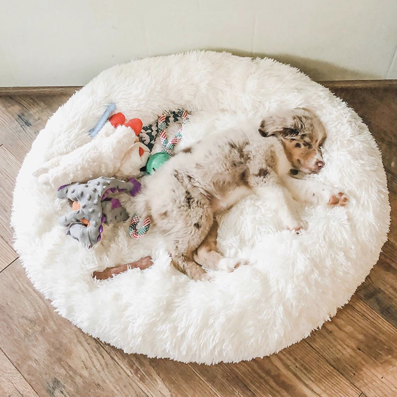 Dog Bed Long Plush Dount Basket Calming Cat Beds Hondenmand Pet Kennel House Soft Fluffy Cushion Sleeping Bag Mat for Large Dogs 1