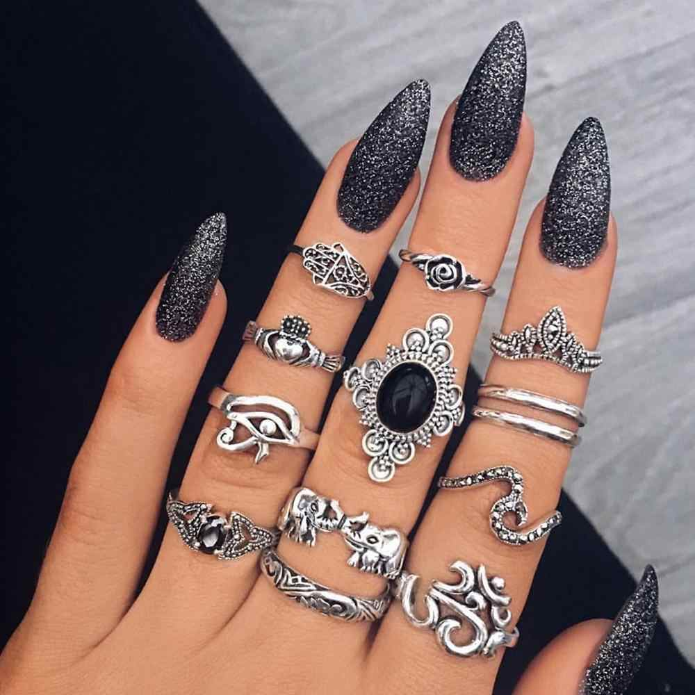 Boho 13 ชิ้น/เซ็ต VINTAGE Fatima Hand Rose WAVE ช้างหินโอปอล Finger MIDI แหวน Knuckle แหวนผู้หญิงงานแต่งงานเครื่องประดับ