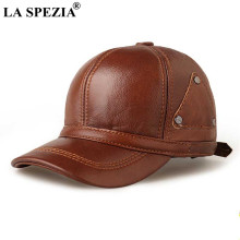 LA SPEZIA Hat Men Real Leather Winter Baseball Cap Brown Snapback Cowskin High Quality Men's Adjustable Baseball Hat