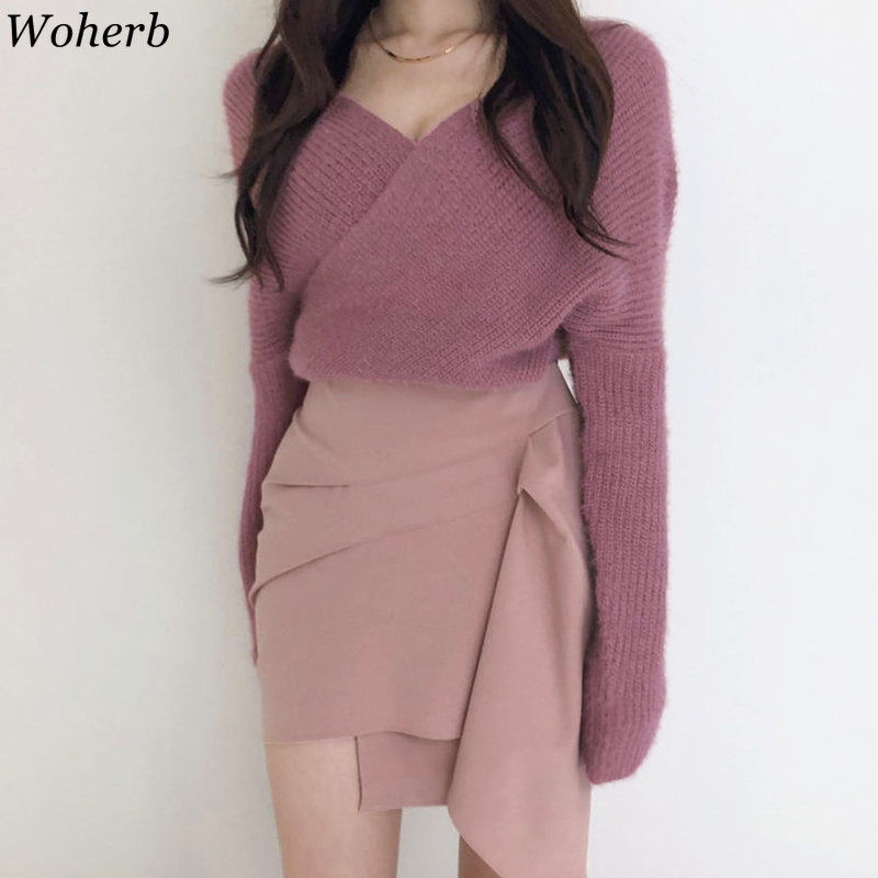 Woherb Autumn V Neck Knitted Sweater Sexy Off Shoulder Knitwear Modis 2020 Winter Tops Pullover Jumper Pull Femme Truien Dames