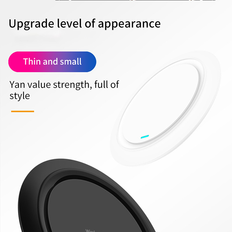 Wireless QI Fast Phone Charging Pad Charger Charging Wireless Induction Table Desktop Super Thin 7mm Thickness Charger with LED 6