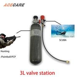 Ac103301 cilindro pcp rifle de ar 3l 4500psi tanque mergulho caça submarina arma subaquática válvula fibra carbono tanque acecare