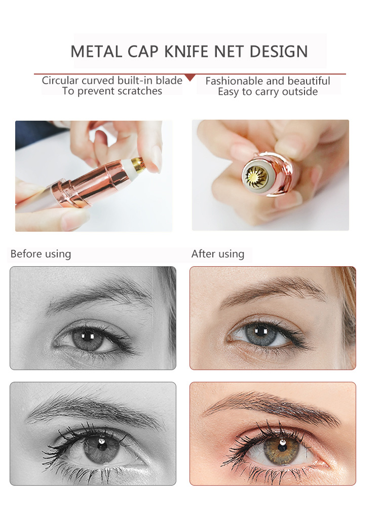 Mini Electric Eyebrow Trimmer Lipstick Brows Pen Hair Remove Painless Eye brow Razor Epilator with LED Light OPP Package in Epilators from Home Appliances