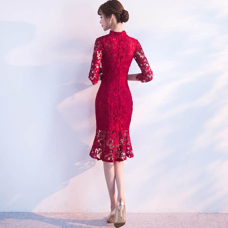 Spring-Evening-Party-Gowns-Qipao-Traditional-Chinese-Women-Wedding-Dress-Slim-Red-Lace-Half-Sleeve-Mandarin (3)