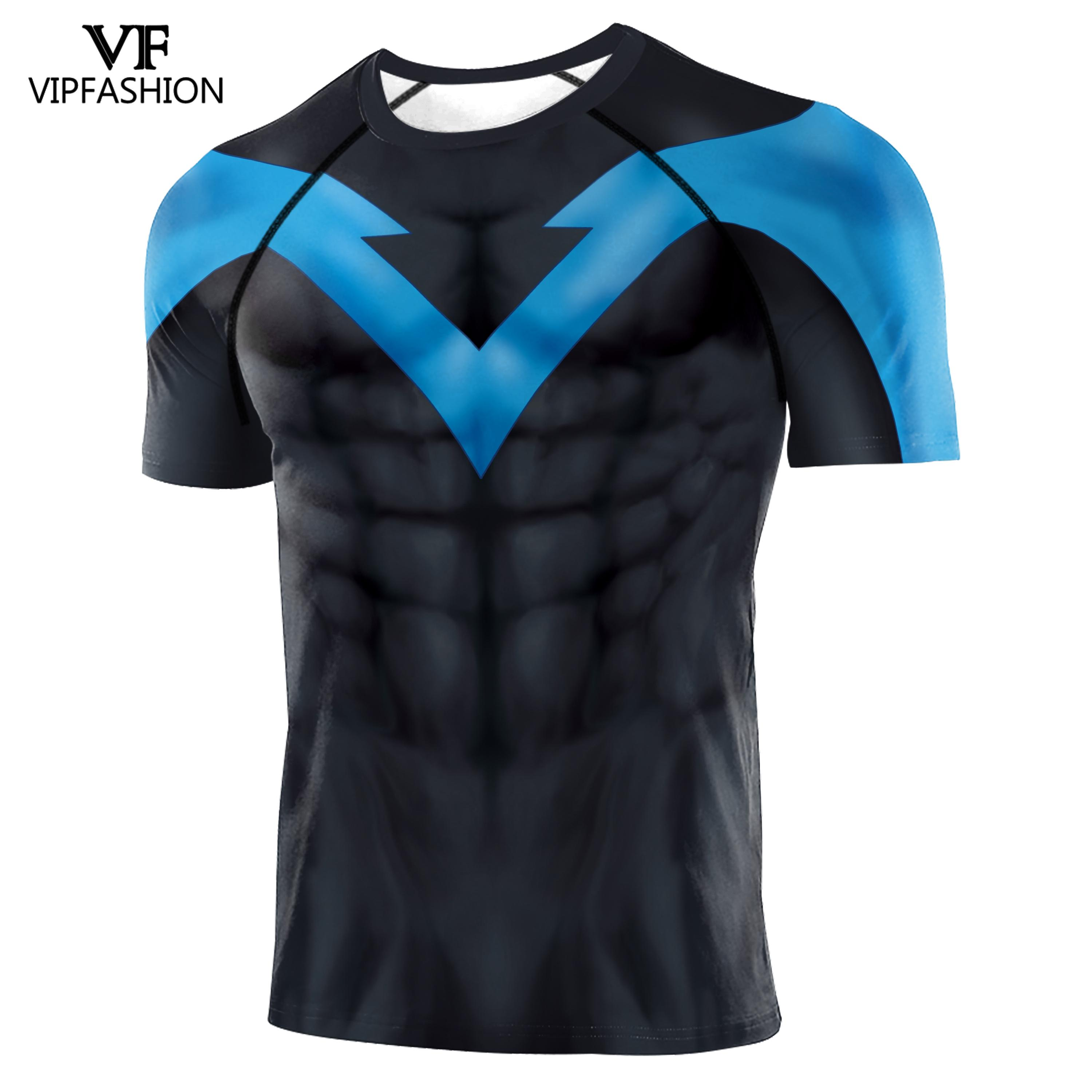 VIP FASHION 2020 3D Printed T-shirts Men Compression Tight T-shirts For Male Nightwing Clothing Avengers Raglan Sleeves