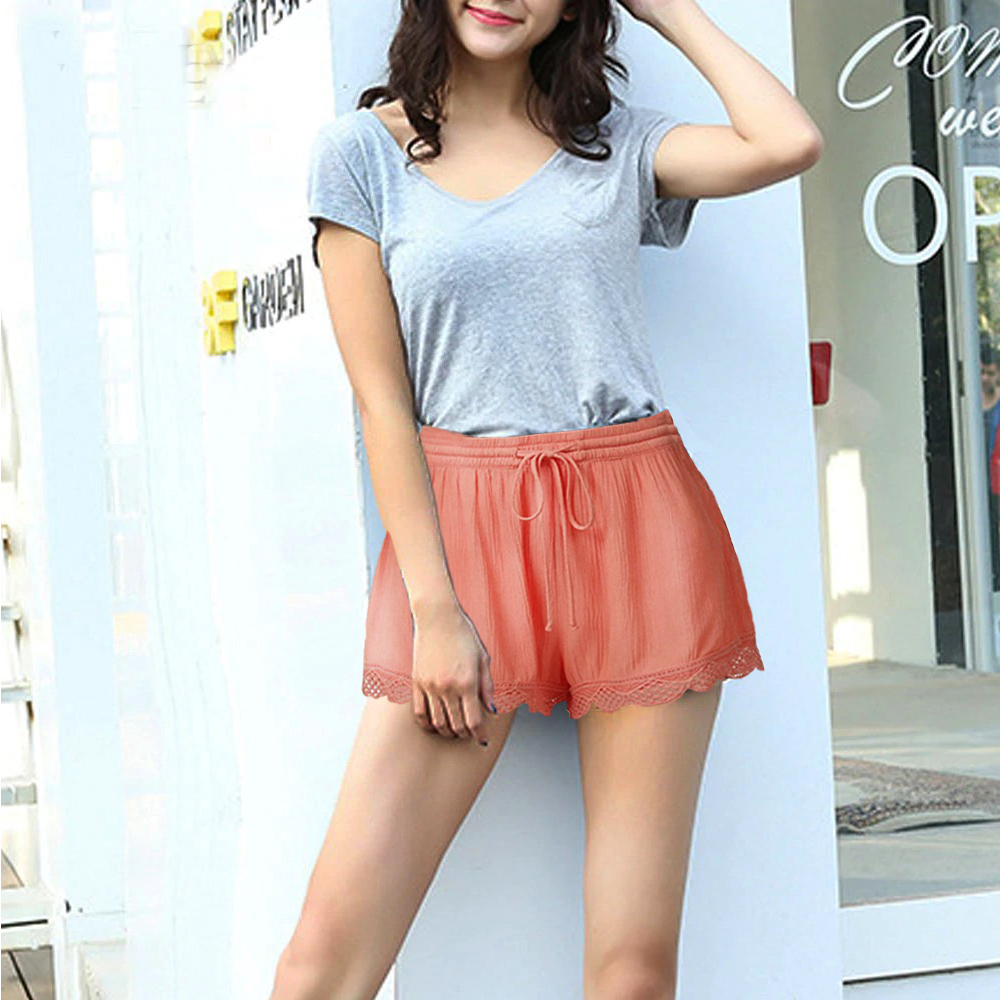 Women Lace Up Plus Size Shorts Solid Color Sexy Mid Waist Elastic Loose Casual Lace Shorts Elegant Women's Summer Short Trousers