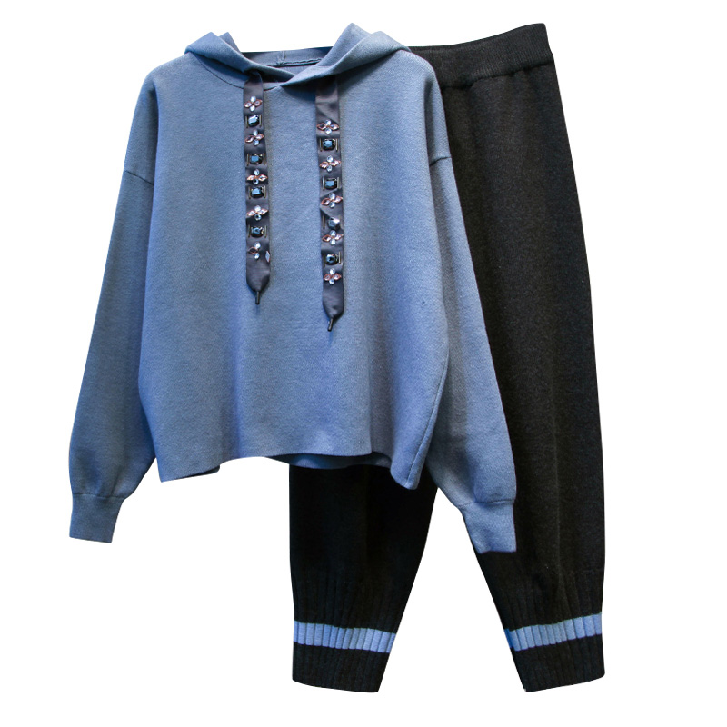 Women's Sports Suit Large Plus Size XL-5XL Tracksuit Hooded Sweater+pants Two Piece Set Top And Pant Sportwear Warm Matching Set