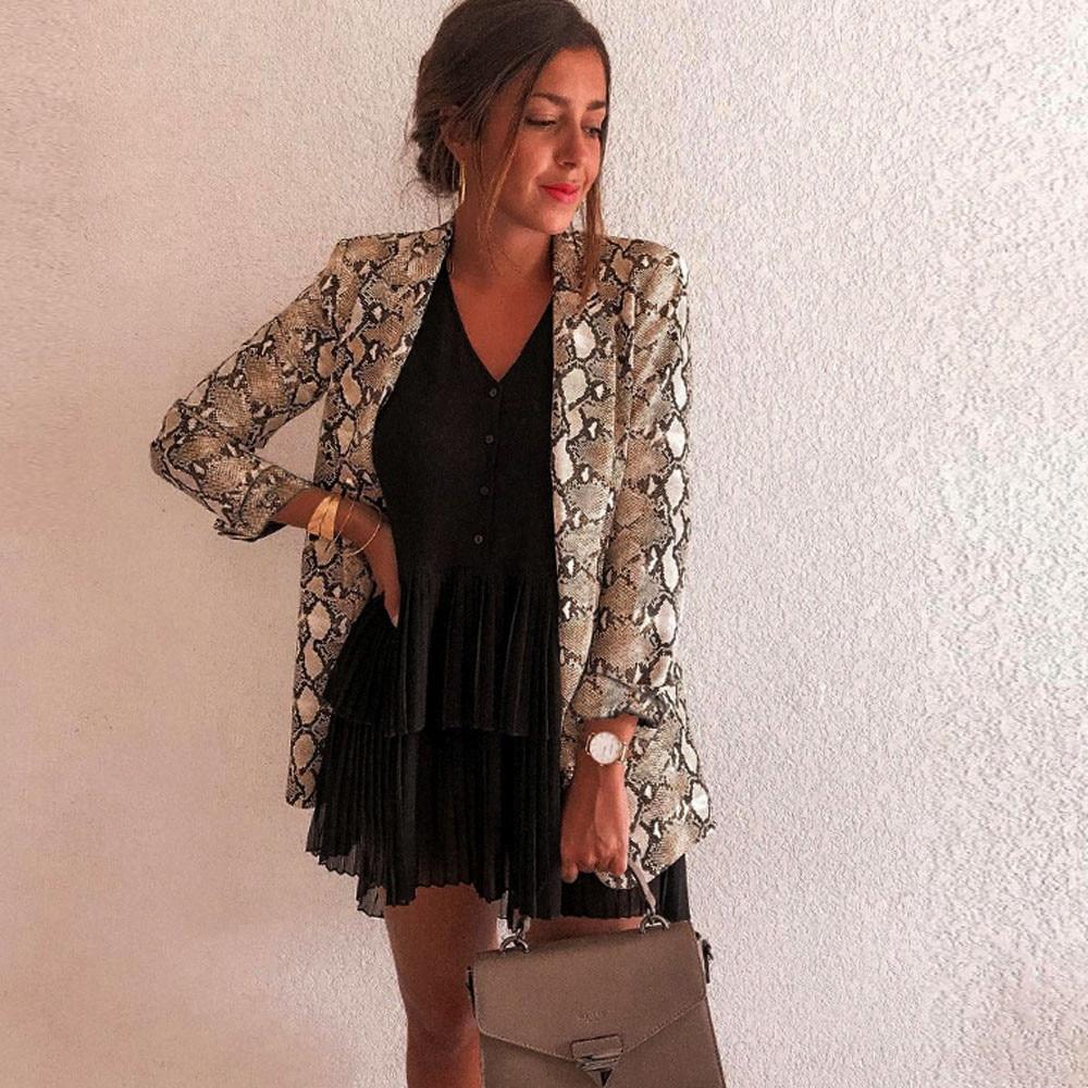 Women Snake Print Blazer Autumn Female Notched Khaki Long Sleeve Suit Coat Blazer Biker Outwear Tops abrigos mujer invierno