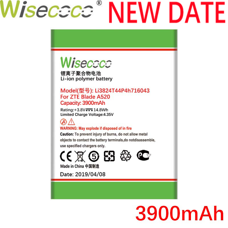 Wisecoco 3800mAh Li3824T44P4h716043 3.85V Battery For ZTE Blade A520 A521 BA520 A603 BA603 Phone Replacement