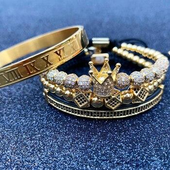 3pcs/set Men Bracelet jewelry crown charms Macrame beads Bracelets for women pulseira masculina pulseira women Bracelets
