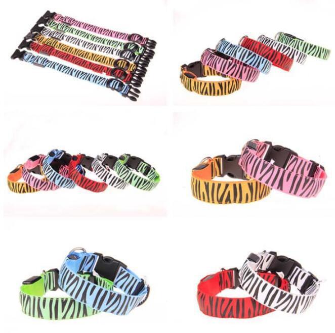 Pet Collar Zebra-stripe New Style Shelves LED Shining Pet Dog Bandana Ali Bar Hot Items