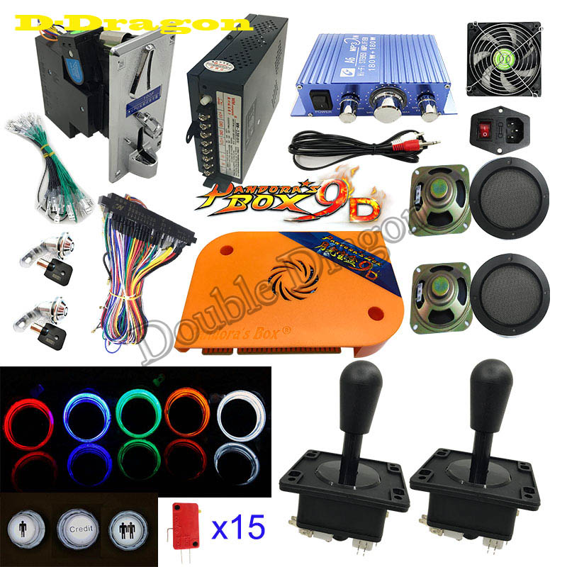2222 In 1 DIY Kit Pandora Box Board Game Game Joystick Harness Coin Acceptor For Bartop Retro Arcade Game Cabinet Machine 3P 4P
