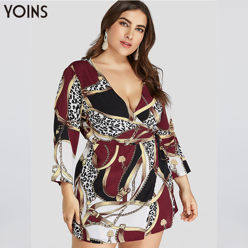 2019 YOINS Women Dress Autumn Summer Spring Plus Size Burgundy Scarf Print Mini Dresses Vintage Vestidos Long Sleeve Tunic 4XL in Dresses from Women 39 s Clothing