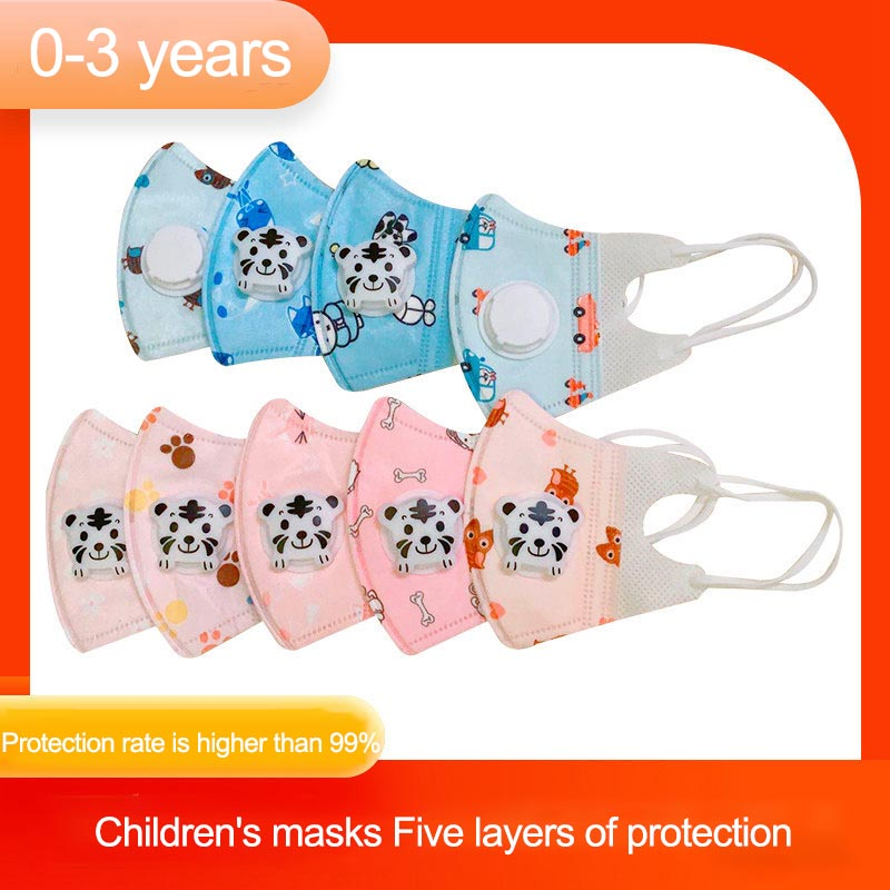 Cartoon PM2.5 Kids Mouth Mask 0-3 Years N95 Breath Valve Anti Haze Breathable Mask Anti Dust Meltblown Cloth Protection Mask